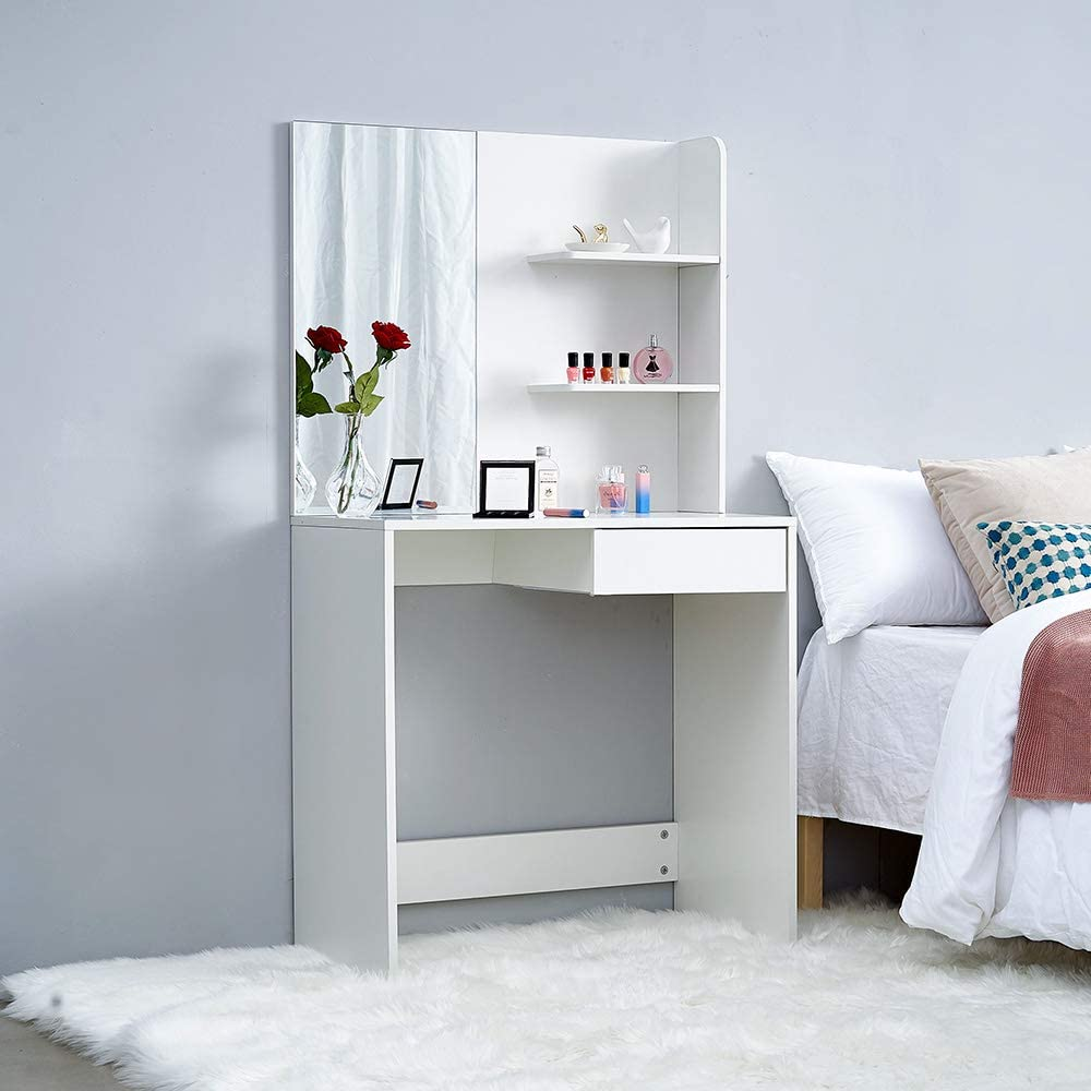 Style1 Makeup Vanity Bedroom Dresser Set With 1 Drawers 3 Shelves For Ample Storage Dressing Table White With A Large Mirror