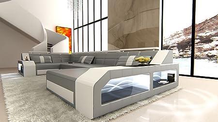 Sofa Dreams Leder Wohnlandschaft Arezzo U Form Grau Weiss Amazonde