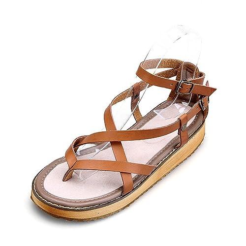 OCHENTA Zapatillas de Moda Sandalias Alpargatas Abierto de Plataforma Tobillo Mujer #09 Verde 40 CaP9lq