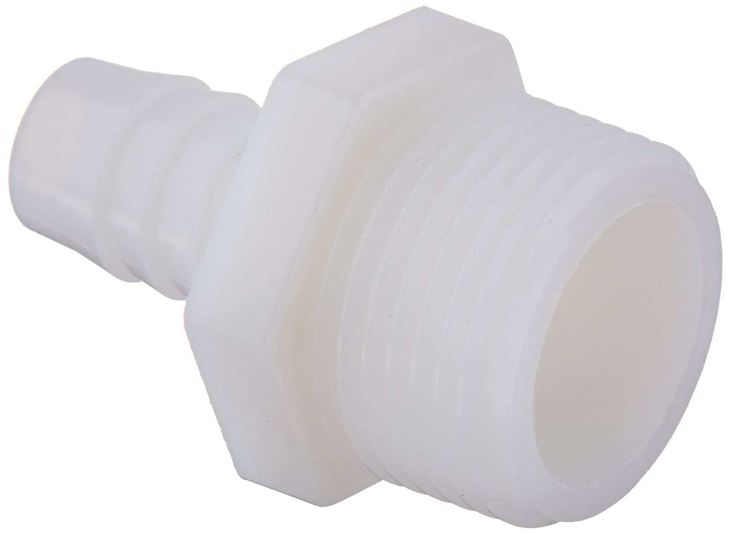 "Parker Hannifin 325HB-8-12N Par-Barb Nylon Male Connector Fitting, 1/2"" Hose Barb x 3/4"" Male NPT, White"