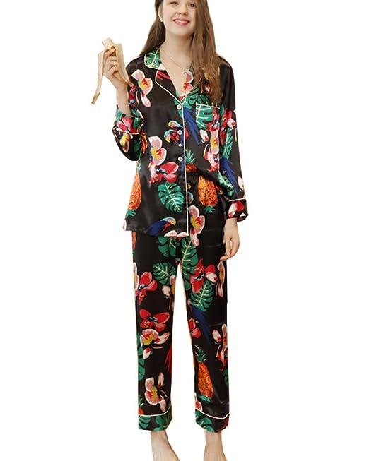 Mujer Pijama 2 Piezas Satén Camiseta Raso Prenda Manga Larga Patrón Impreso Ropa Dormir
