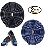 No Tie shoelaces, Komking Tieless shoelaces Stretch shoelaces Trim To Fit Design Athletic Shoelaces for All Types shoes (Black+Blue)
