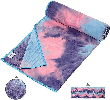 Suede Microfiber Non Slip Hot Yoga Towel – Silicone Dots Antiskid Absorbent 72 x 24inch Yoga Mat Towel, Washable Flow Pilates Towel, Grip Fit Bikram ...
