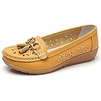 SHELAIDON Mocasines Cuero para Mujer Zapatos Planos Verano