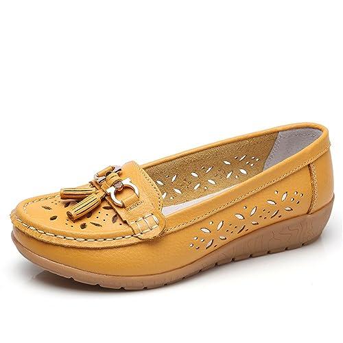 SHELAIDON Mocasines Cuero para Mujer Zapatos Planos Verano, Loafers Barco Zapatos Mujer Casual Zapatillas: Amazon.es: Zapatos y complementos