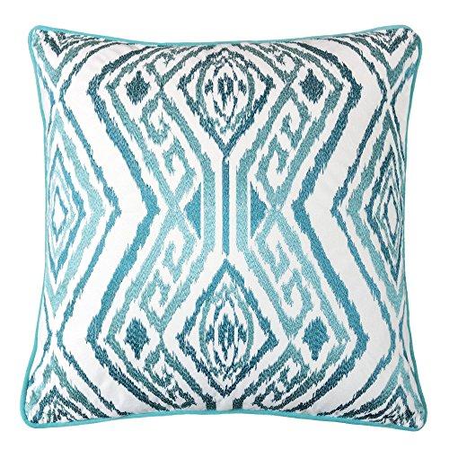 Homey Cozy Embroidery Turquoise Velvet Throw Pillow Cover,Ocean Series Diamond Key Bright Spring Nautical Decorative Pillow Case Coastal Beach Theme Home Decor 20x20,Cover Only
