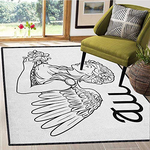 Zodiac Virgo Modern Abstract Floor Mat,Astrological Angel Carrying a Bouquet of Lily Flowers in a Greek Dress for Dining Room Bedroom Black and White 67