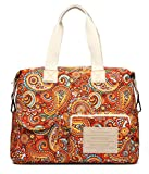 Malirona Canvas Shoulder Bag Travel Handbag Women Top Handle Satchel Crossbody Purse Floral Design (Red Flower)