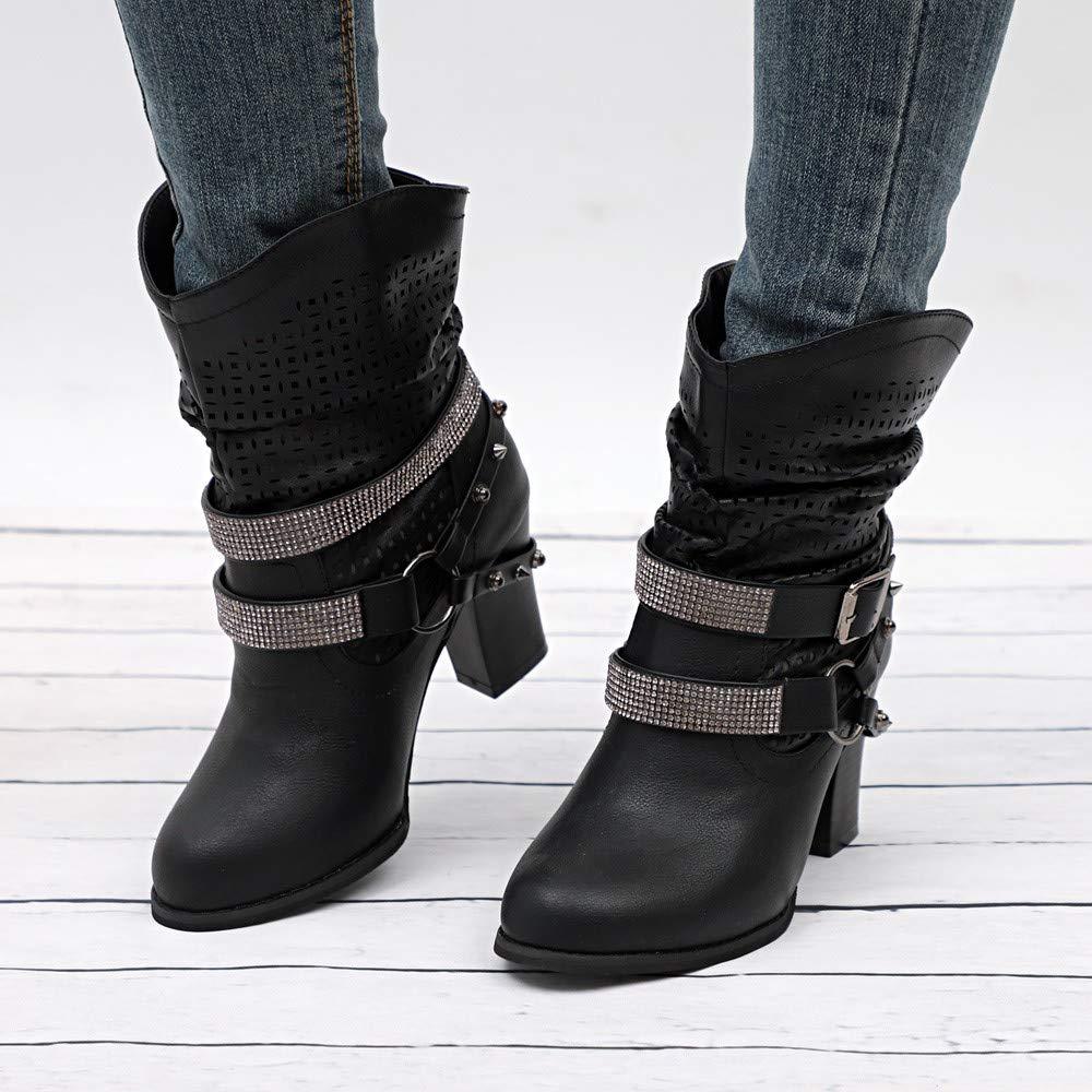 ZODOF Botas de Mujer Botas Retro Navidad Boots Tooling para Hombre Botas British Student Casual Boots