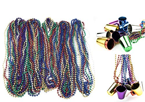 - 72 Necklace 33 inch 07mm Metallic Multi Colors Mardi Gras Beads Beaded Necklace with Shot Glasses