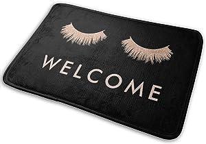 Gold Eyelashes Welcome Rubber Backed Mat Non Slip Mats Outdoor/Indoor/Bathroom/Kitchen/Bedroom Doormat