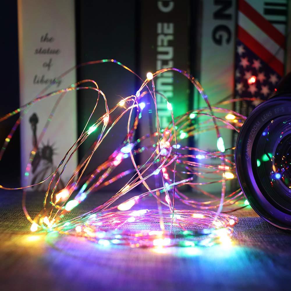 Konesky RGB 5M 16.4ft LED Strip Fairy Lights Filo di rame String Lights USB Powered Lampada decorativa per Natale Wedding Birthday Party Ball Halloween