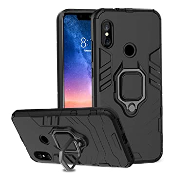 buy online 39a50 681d5 Ferilinso Case for Xiaomi Redmi Note 6 Pro, Stylish Dual Layer Hard PC Back  Case with Ring Grip Kickstand & Support Magnetic Car Mount Function Cover  ...