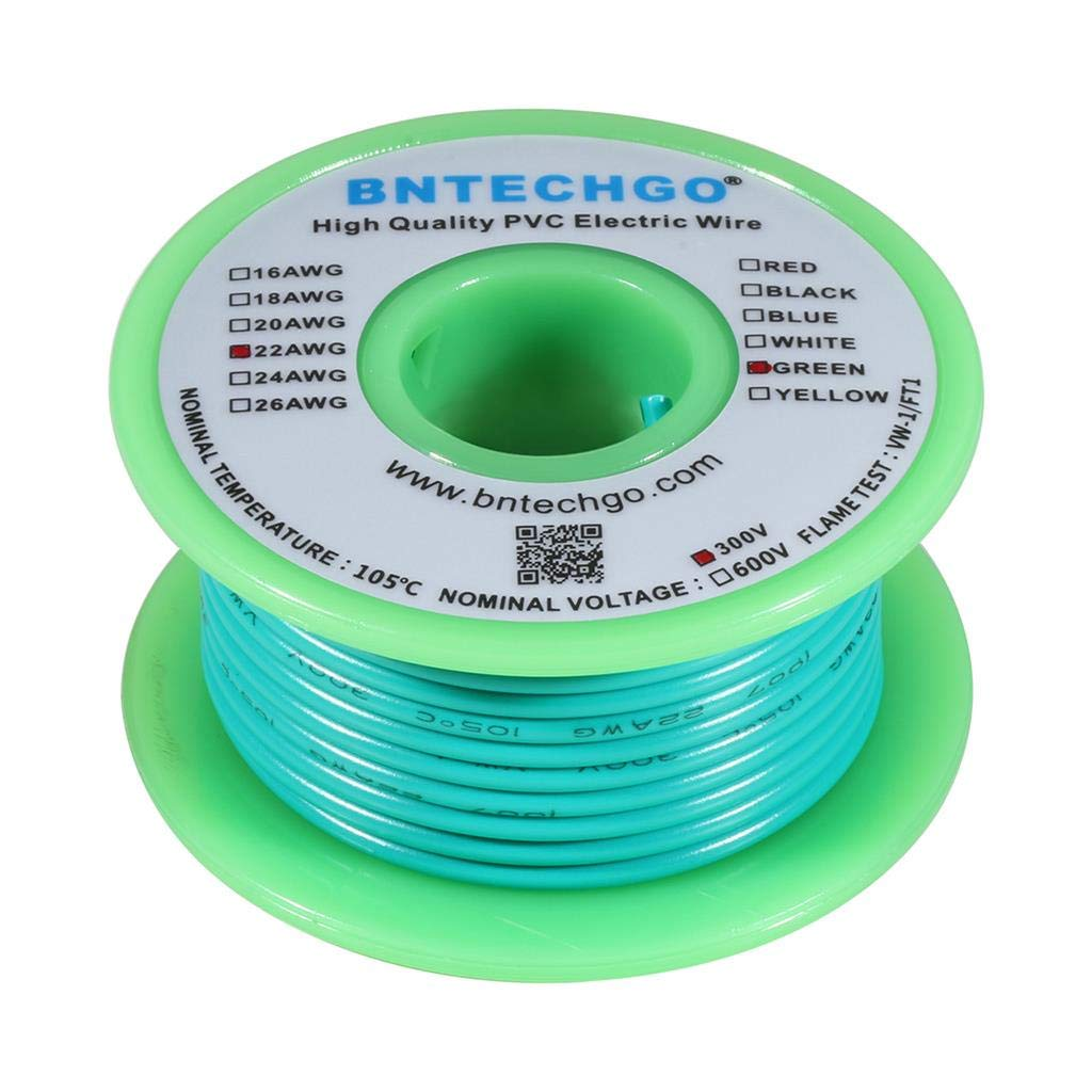 BNTECHGO 22 AWG 1007 Electric Wire 22 Gauge PVC 1007 Wire Stranded Wire Hook Up Wire 300V Stranded Tinned Copper Wire Green 25 ft Per Reel for DIY
