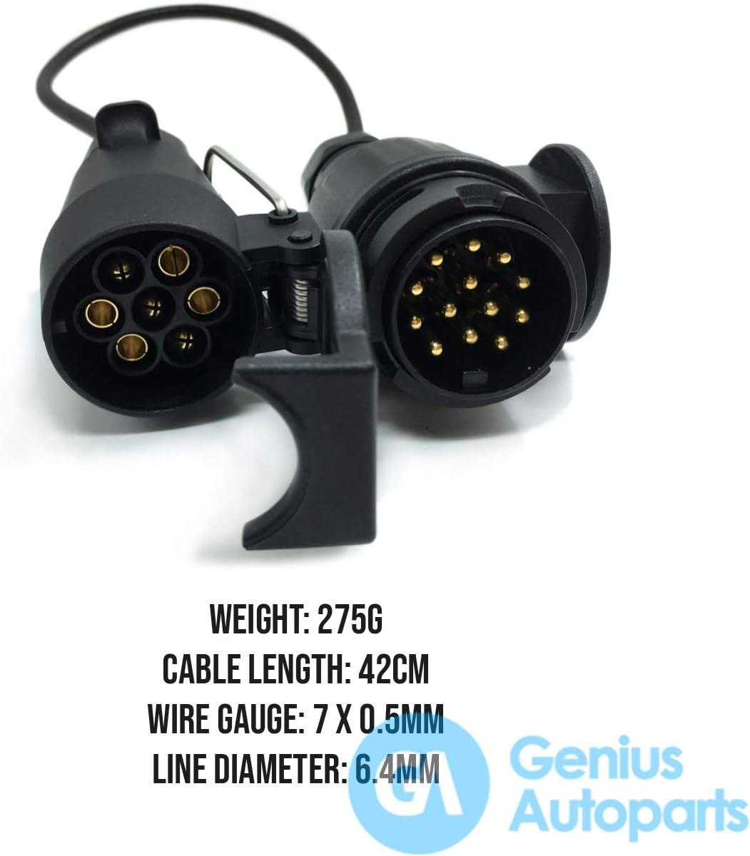 Genius Autoparts Connecteur de remorque 7 broches vers 13 broches 12 V pour prise europ/éenne de voiture et prise de courant en plastique /étanche Cuivre Noir