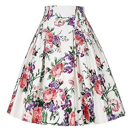 Womens floral skirt amazon paul jonesdress womens vintage skirts 50s 60s floral vintage short skirts c 7s mightylinksfo