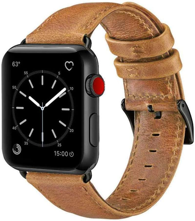 OUHENG Compatible with Apple Watch Band 38mm 40mm, Genuine Leather Band Replacement Compatible with Apple Watch Series 6 5 4 3 2 1 SE 38mm 40mm, Retro Brown