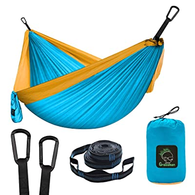 Grassman Camping Hammock Double & Single Portable Hammock with Tree Straps, Lightweight Nylon Parachute Hammocks Camping Accessories Gear for Indoor Outdoor Backpacking, Travel, Hiking, Beach: Sports & Outdoors