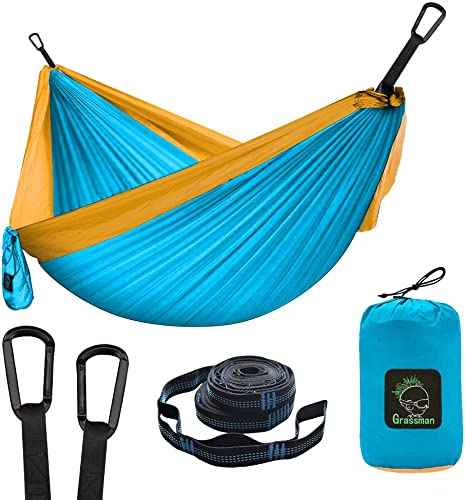 Grassman Camping Hammock Double Single Portable Hammock with Tree Straps, Lightweight Nylon Parachute Hammocks Camping Accessories Gear for Indoor Outdoor Backpacking, Travel, Hiking, Beach