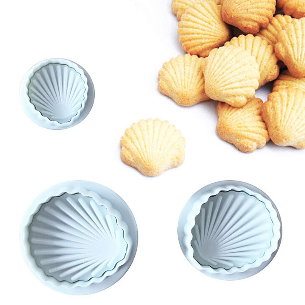 Pulison Cake Mold 3Pcs Shell Shape Cookies Fondant Molds Cutter Cake Embosser Mold DIY Decorating Tool Silicone Sugar Mini Mold Craft Molds DIY Cake Decorating Mold Tray