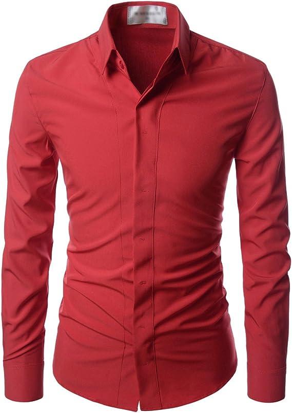 NEARKIN - Camisa de vestir muy ceñida, sin costuras, antiarrugas - Rojo - US Medium(Talla De La Etiqueta Medium): Amazon.es: Ropa y accesorios