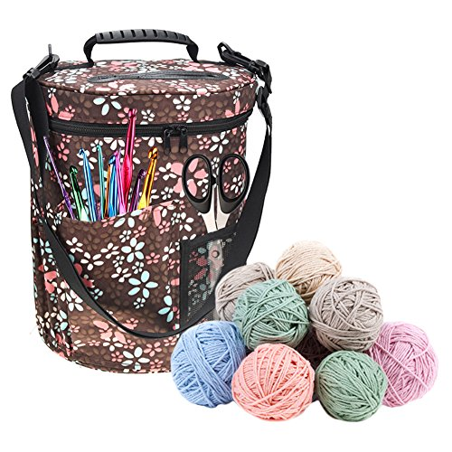 Yarn Storage Tote Organizer, Large-sized Cylinder Crochet Hook Woolen Yarn Bag Container - Portable, Light and Easy to Carry (KB006) by blingflower