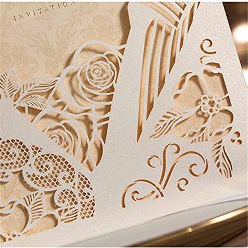 Engagement White Laser Cut Couples Wedding Invitations Elegant Hollow Groom & Bride Dinner Party Invite Cards CW010 (100) by Wishmade (Image #3)