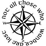 """Not All Those Who Wander Are Lost LOTR Compass 6"""" Vinyl Sticker Car Decal (6"""" BLACK)"""