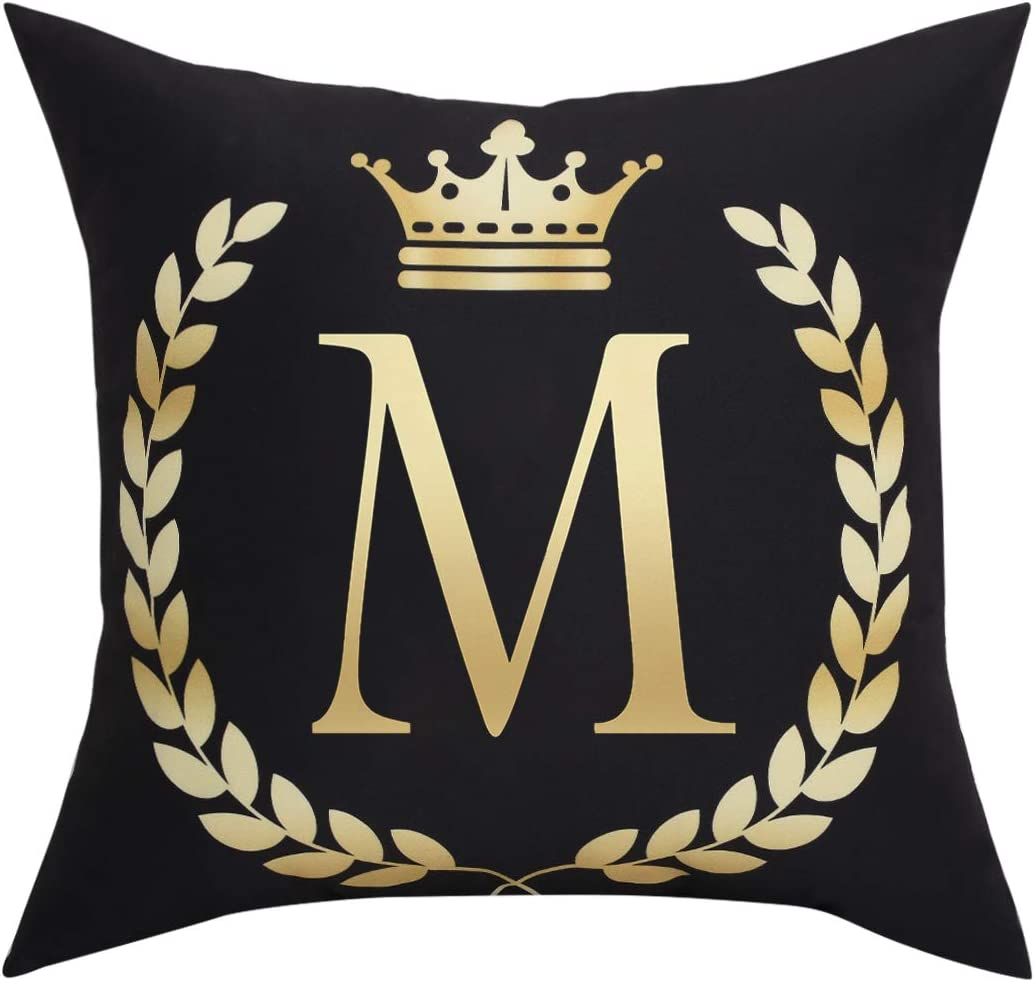 BLEUM CADE Black Pillow Cover Throw Pillow Case English Alphabet M Throw Pillow Case Modern Cushion Cover Square Pillowcase Decoration for Sofa Bed Chair Car