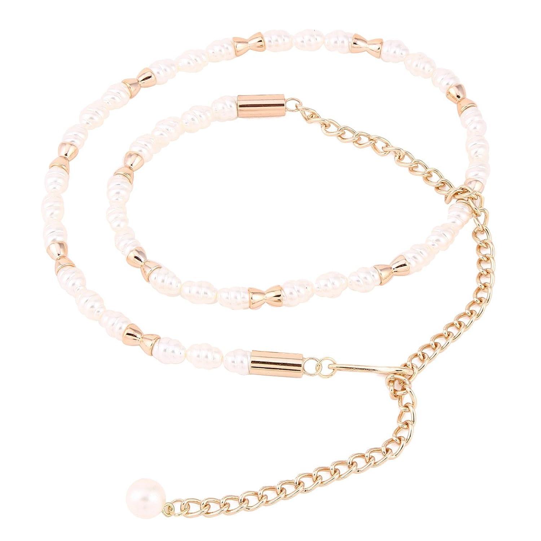 Damara Damen Schöne Metall Skinny Slim Kettengürtel Lange Ausgefallene mit Imitation Perle