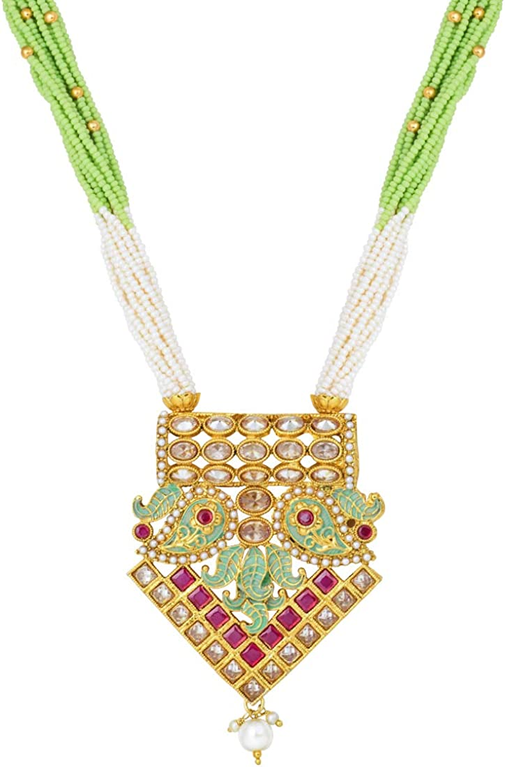 Indian Ethnic Jewelry for Women Aheli Stylish Wedding Party Wear Pearl Stone Encrusted Pendant Necklace Earrings Set Mint