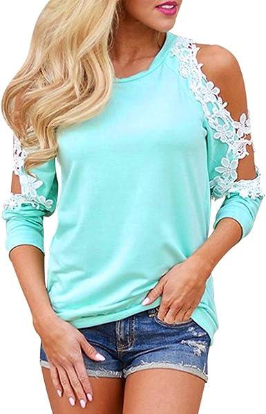Camisas Mujer Blusa Suelta Hombro sin Tirantes Casual Camiseta Manga Larga Ajustado Encajes Tops Pullover Tallas Grandes Jerséis T-Shirt tee Otoño e Invierno riou: Amazon.es: Ropa y accesorios