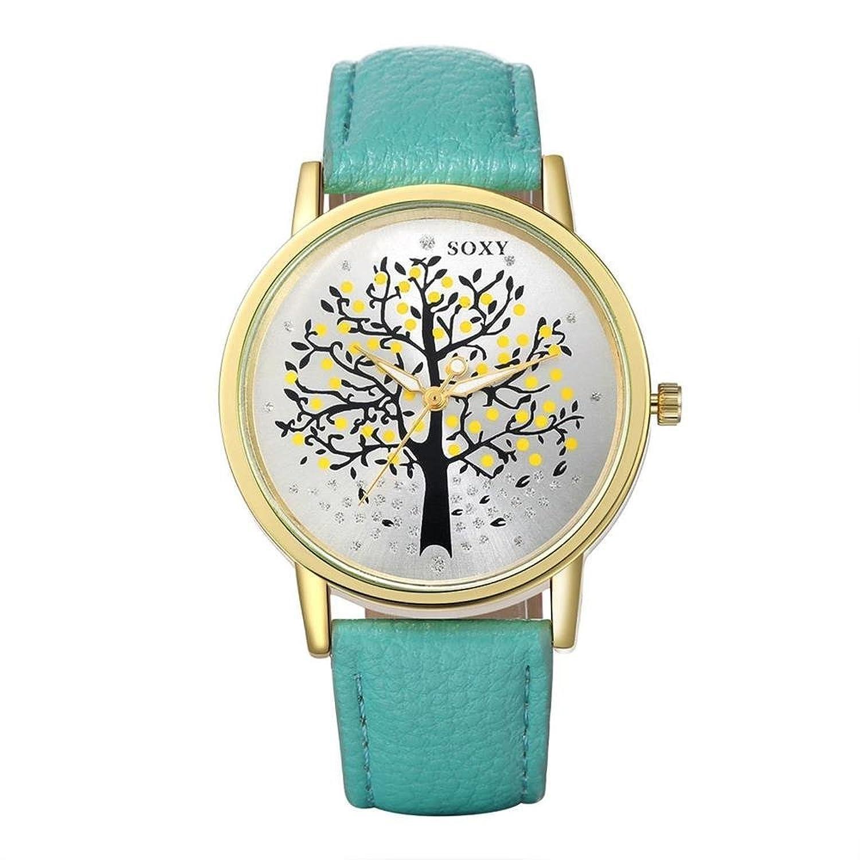jiayihomeレディースPUレザーのストラップクオーツMovement withブラックダイヤル腕時計wh0010l B01G16ORM8
