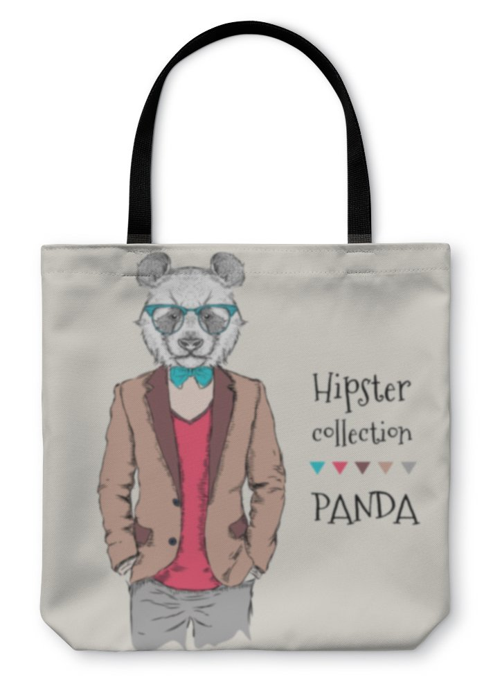 Gear New Shoulder Tote Hand Bag, Illustration Of Panda Hipster Dressed Up In Jacket Pants And Sweater, 16x16, 6038014GN