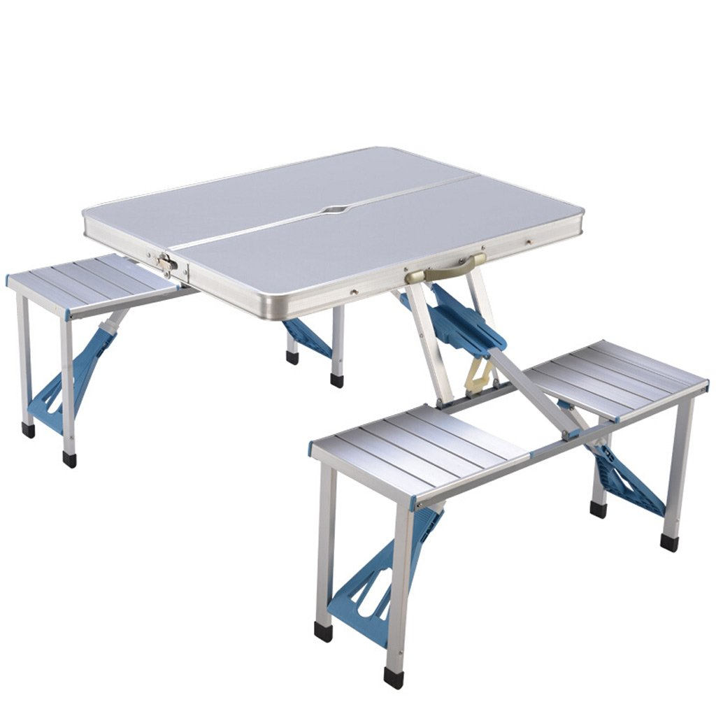 TangMengYun 折りたたみテーブル屋外ポータブルテーブルと椅子バーベキューキャンプのための統合ヘビーデューティアルミ合金テーブル (Color : Silver Grey) B07DMKTM5S Silver Grey Silver Grey