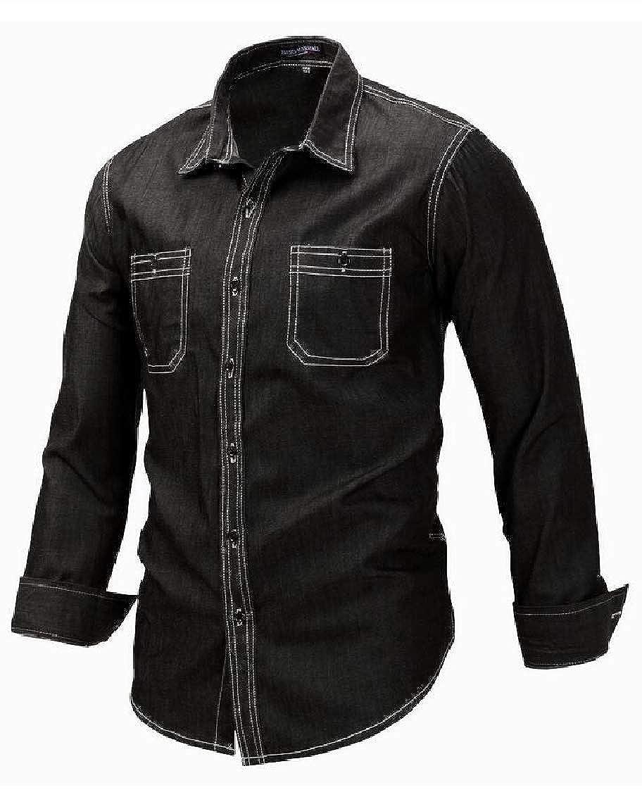 Hajotrawa Mens Lapel Neck Pocket Denim Basic Long Sleeve Button Down Shirts