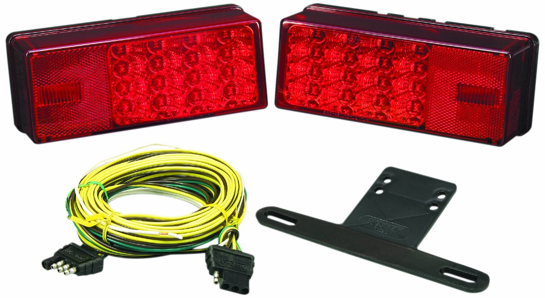 Wesbar 407540 Waterproof LED Low Profile Tail Light Kit, Over 80'' Wide Trailer by Wesbar