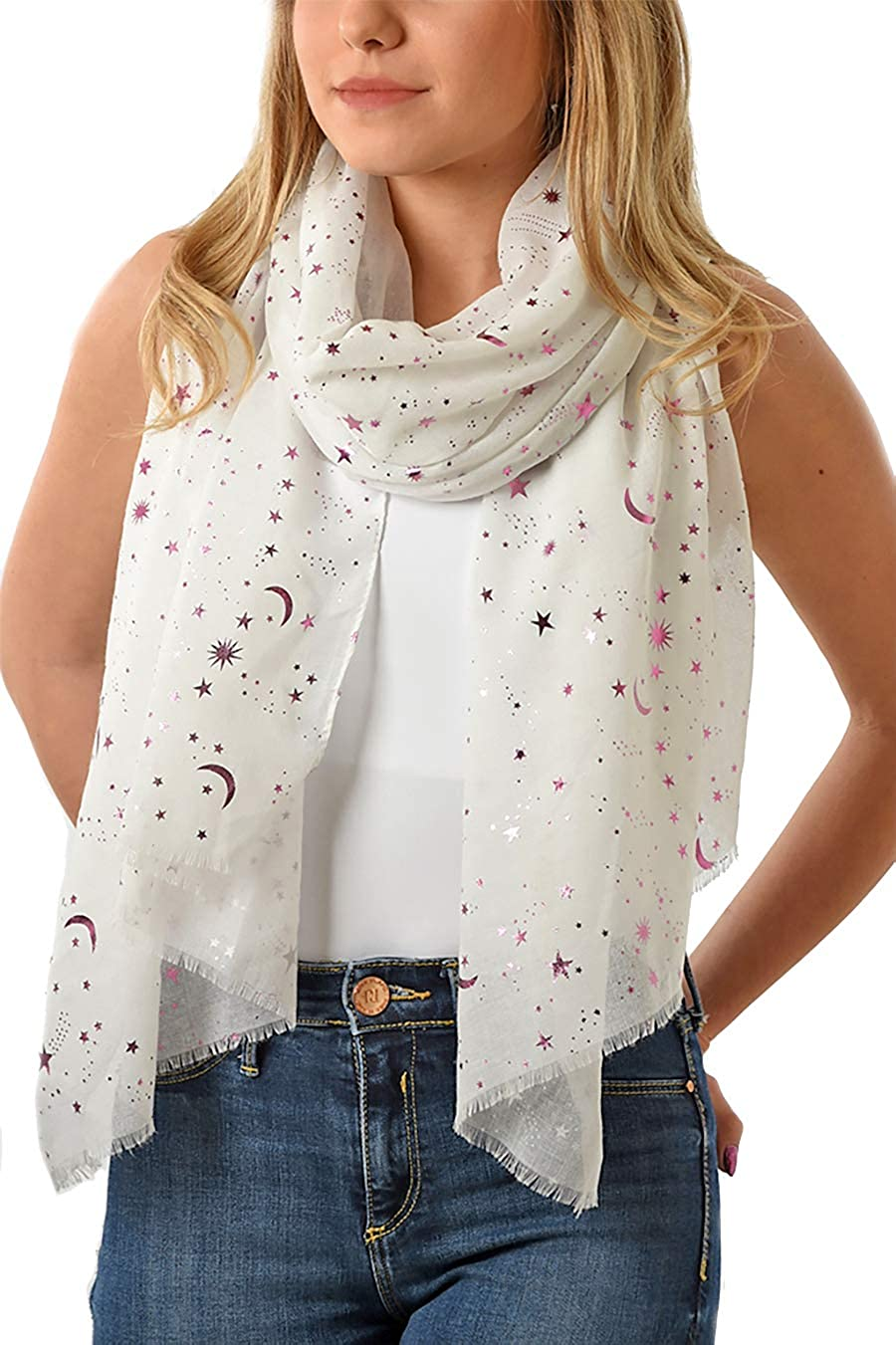 8a9f67f0753 Evening Star Sparkle Scarves for Women - Lightweight - Metallic Foil Print  Scarf - Stars and Moons - Ladies Scarves - Gift - 50th Birthday -UK