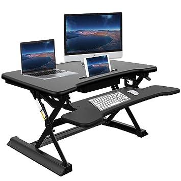Standing Desk Converter With Drawer   Ansteker 35u0027u0027 Wide Platform Height  Adjustable Sit To