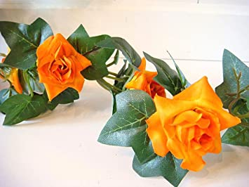 Amazon De Rosengirlande Rose Efeu 23 Orangefarbene Bluten