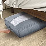 Lifewit Jumbo Nonwoven Fabric Underbed Storage Bags with Clear Window for Comforters, Blanket, Clothes, Grey