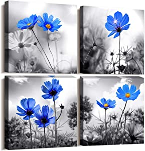 "Wall Art For bedroom Black and White cyan blue flower Canvas Wall Decor for Home Decor artwork painting 12"" x 12"" 4 Pieces Canvas Print For Living Room Decor Modern Salon kitchen Still Life Painting"
