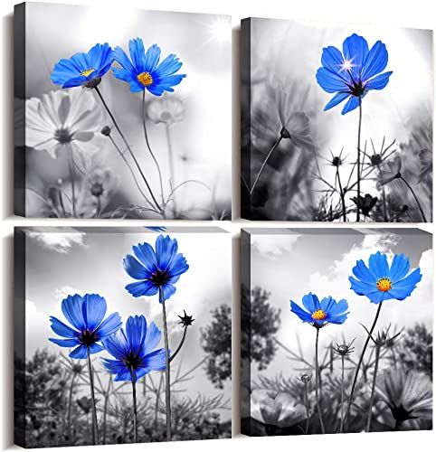 Wall art 4 Panel Modern Salon Theme Black and White Plant The Blue flower Flower Abstract Painting Still Life Canvas Wall Art