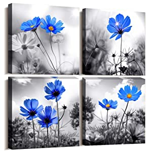 """Canvas Wall Art for Kitchen Simple Life Black and White Landscape Cyan Blue Flowers Wall Decor for Bedroom Artwork 12"""" x 12"""" 4 Pieces Framed Canvas Prints Ready to Hang or Living Room Home Decoration"""