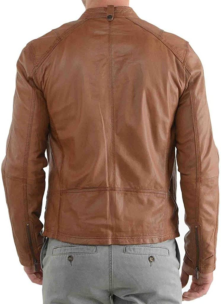 Pristine Leather Mens Motorcycle Slim Fit Leather Jacket Coat