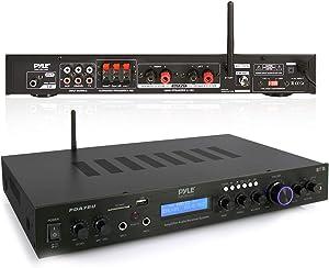 Pyle - 5 Channel Rack Mount Bluetooth Receiver, Home Theater Amp, Speaker Amplifier, Bluetooth Wireless Streaming, MP3/USB/SD/AUX/FM Radio, 200 Watt, w/ Digital ID3 LCD Display from - PDA7BU,Black