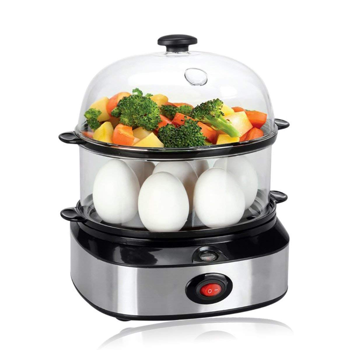 PowerDoF Double Tier ZDQ-702A Electric Multi Function Egg Cooker with Food Steamer, 1