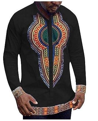 4c7796636 Amazon.com: Makkrom Mens African Shirts Button Long Sleeve Dashiki Tops T  Shirts: Clothing