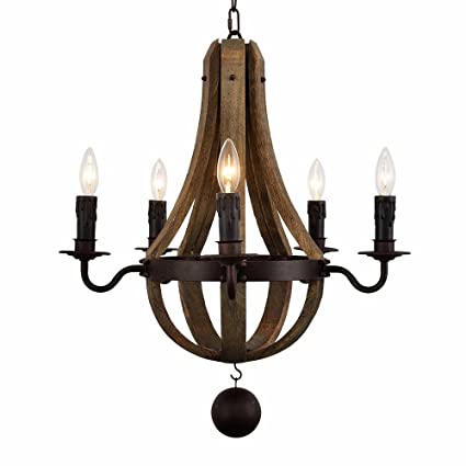 AYUUU Farmhouse Chandelier by Wine Barrel Antique Wood Pendant Light Over  Island Japanese Wooden Rustic Iron - Amazon.com: AYUUU Farmhouse Chandelier By Wine Barrel Antique Wood