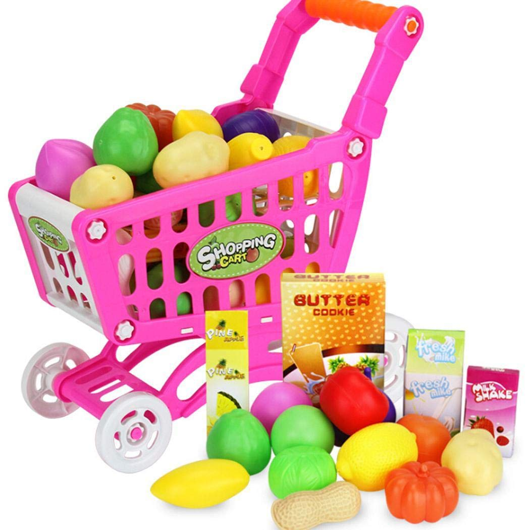 Amazon.com: Kizaen Shopping Cart Toy Kids Educational Toy Fruit Vegetable Supermarket Shopping Cart Mini Trolley Cart: Toys & Games